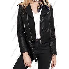 womens faux leather biker short coat jacket slim zipper americasuits com