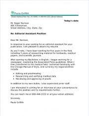 Editorial Assistant Cover Letters Editorial Assistant Cover Letter Sample