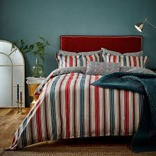 blue red striped bedding