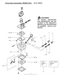 Poulan te450cxl le gas trimmer type 3 parts diagram for carburetor c1u carburetor diagram 48 at walbro wt carburetor diagrams