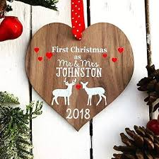 first as mr and mrs decoration bauble personalised married wood tree for 1st wedding
