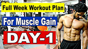 Workout Chart For Weight Gain Full Week Workout Plan For Muscle Gain Weight Gain Day 1