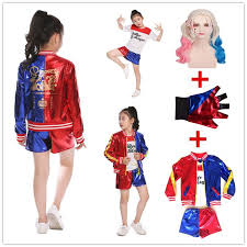 s kids squad harley quinn costume cosplay joker squad purim t shirt top jacket pants sets theater costumes