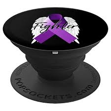 hodgkins lymphoma cancer fighter survivor gift wings ribbon popsockets grip and stand for phones and