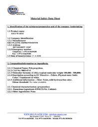 Fillable Online Material Safety Data Sheet Eko Plastic Fax