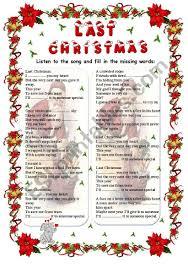 Last Christmas - WHAM song (fill in) - ESL worksheet by gabitza