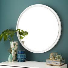 floating round wood mirror white