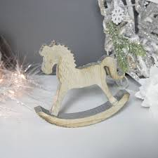 rustic natural wood silver rocking horse ornament scandi decoration
