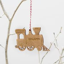 personalised christmas tree decoration train engine