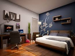 charming bedroom modern home office design with brown single bed frame along wooden rectangle desk and charming wallpaper office 2 modern