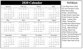2020 Printable Calendar Yearly Free Printable Singapore 2020 Calendar With Holidays In Pdf