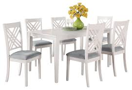 white wood dining chairs. Standard Furniture Brooklyn White Rectangular Dining Table With 6 Seat Wood Chairs U