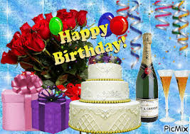 Cake Rose And Drink Happy Birthday Gif Pictures Photos And Images