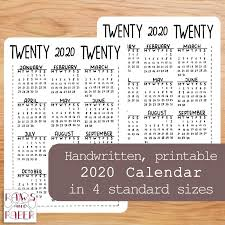2020 Year At A Glance Calendar Template 2020 Calendar At A Glance Calendar Template Printable