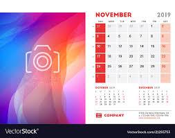Calender Design Template November 2019 Desk Calendar Design Template With Vector Image