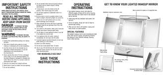 instruction booklet illumina collection two sided lighted makeup mirror with 3 panels and 4 light settings tm7lx manualzz