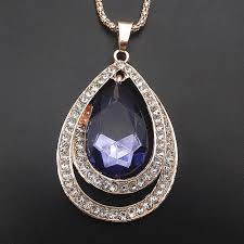 rose gold plated deep blue crystal teardrop pendant sweater chain necklace