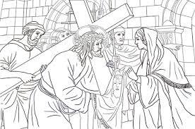Zesde Station Veronica Veegt Het Gezicht Van Jezus Kleurplaat