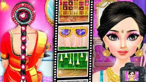 south indian bride wedding salon dress up makeup