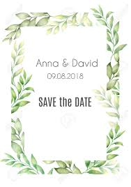 Free Save The Date Birthday Templates Vector Cards Templates With Hand Drawn Watercolor Green Leaves