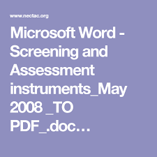 microsoft word assessment microsoft word screening and assessment instruments_may 2008 _to