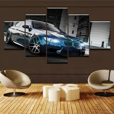 Canvas Printed Poster Home Decor <b>5 Pieces HD</b> Bmw M3 Black ...