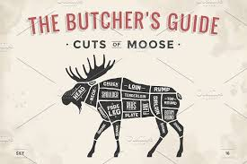 Butcher Diagram Scheme Moose By Foxysgraphic On