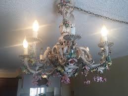 porcelain vintage fl italian capodimonte chandelier lamp cream gold