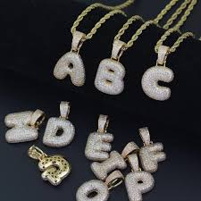 whole 26 letters a b c d e f bubble letters alphabet real iced out micropave zircon men bling bling copper with zircon pendant necklace jewelry red