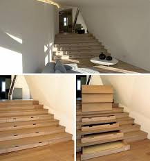 staircase built in drawers