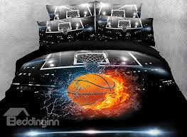 57 basketball ball in fire and water printed cotton 3d 4 piece bedding sets duvet