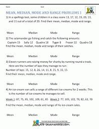 mean median mode range worksheets 6th grade statistics probl ...