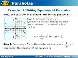 example 1a writing equations of parabolas