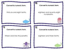 numeric form to word form with decimals decimals word form to numeric form task cards by i heart esol tpt