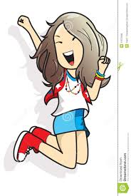 cartoon lady jumping