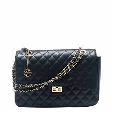 Black Leather Quilted Shoulder Bag - BrandAlley & Zoom · Carla Ferreri Black Leather Quilted Shoulder Bag Adamdwight.com