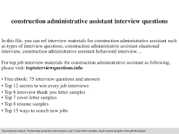 Interview Questions And Answers For Office Assistant Construction Administrative Assistant Interview Questions