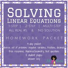 solving linear equations homework packet
