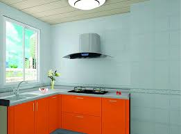 Orange And White Kitchen Wonderful Light Blue Kitchen Walls With Orange Cabinet And Light