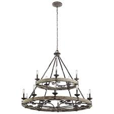 kichler taulbee weathered zinc 15 light chandelier