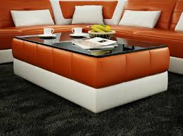 orange and white leather coffee table image and description