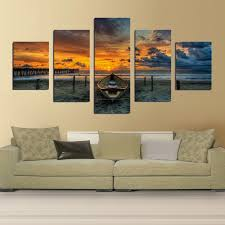 print art canvas painting unframed 5 piece large hd seaview boat for living room wall  on wall art canvas for living room with print art canvas painting unframed 5 piece large hd seaview boat for