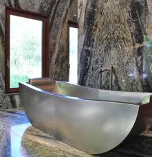 freestanding deep soaking tub. two person stainless steel soaking tub with custom overflow and headrests 80\u201d x 36\u201d freestanding deep n