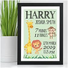Boy Or Girl Baby Announcement Details About Personalised Jungle Animals Baby Boy Baby Girl Birth Announcement Nursery Print