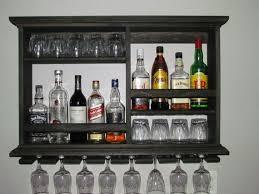 mini bar black stain wine rack liquor