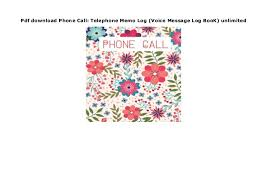 Phone Message Log Book Pdf Download Phone Call Telephone Memo Log Voice Message