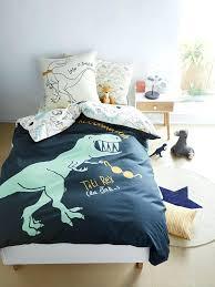 reversible duvet cover pillowcase set theme blue dark all over printed allium