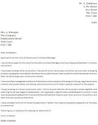 Management Cover Letter Construction Contracts Manager Cover Letter Example Icover