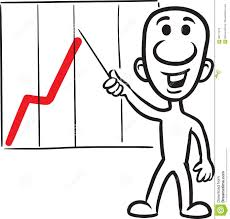 Doodle Small Person With Pointer And Chart Stock Vector