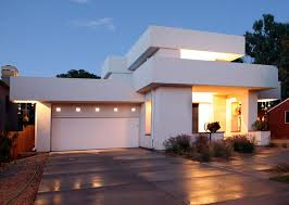 lighting in houses. garage with modern forms lighting in houses